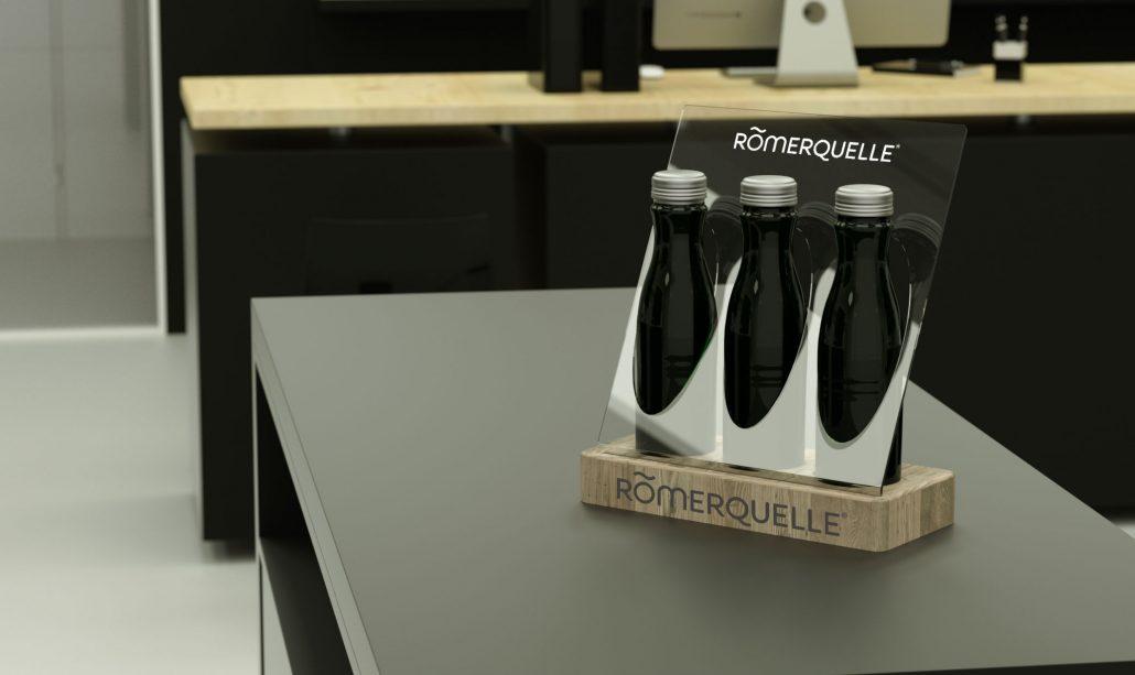 Romerquelle - wooden/PVC bottle presenter