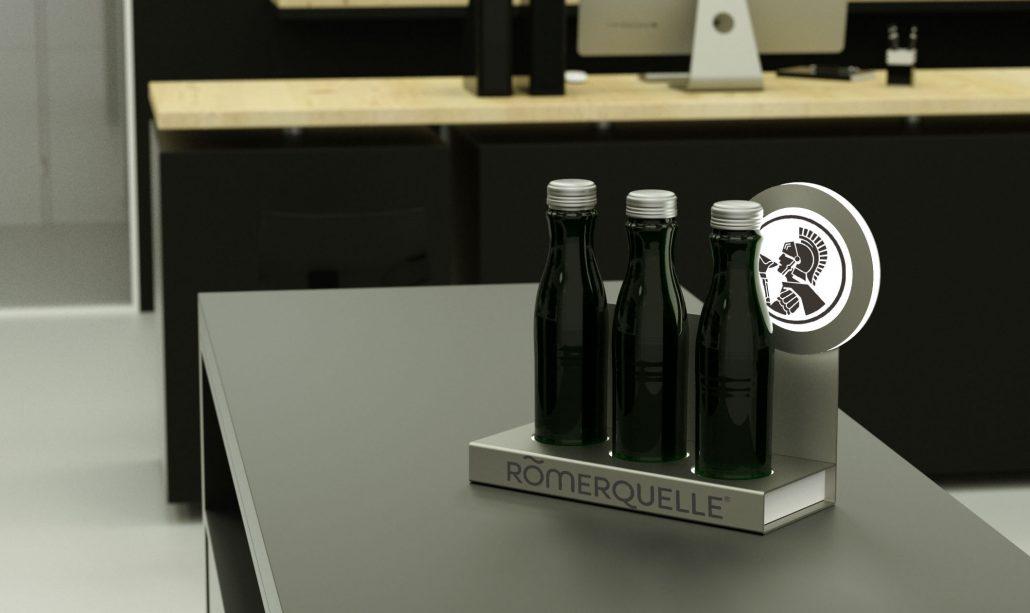 Romerquelle - metal / LED bottle presenter