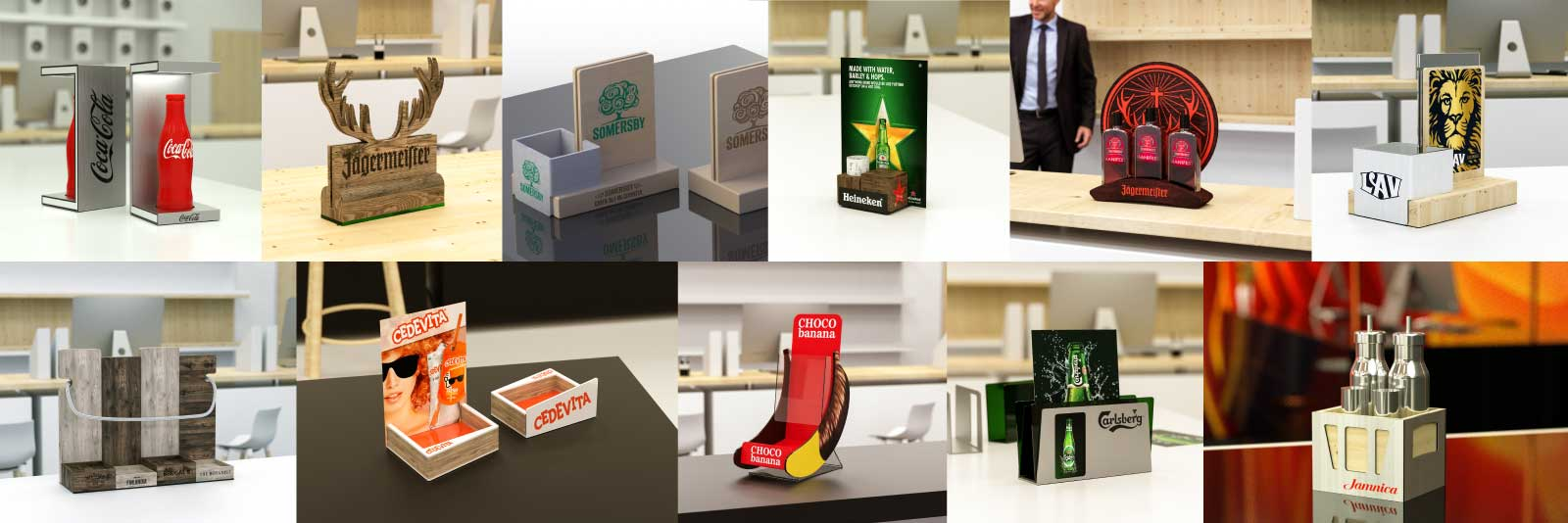 Balboa, design and production POS products, bottle presenters, promo products.